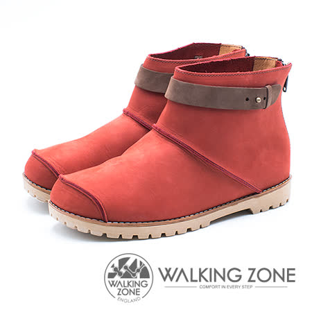 WALKING ZONE 皮革車縫拉鍊短靴 女鞋 - 紅 (另有藍、黃)
