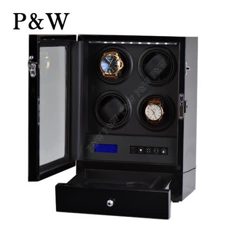【P&W手錶自動上鍊盒】4+2支裝 5種轉速設定 矽膠錶枕【大錶專用】觸控式面板 LED燈 遙控功能 機械錶專用 旋轉盒