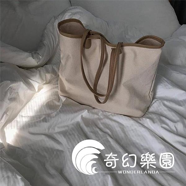 帆布包-新款簡約撞色帆布包手提布包購物袋大容量單肩包休閒女包-奇幻樂園