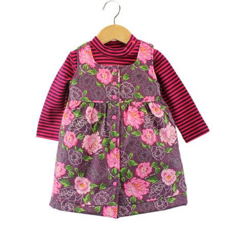 【愛的世界】LOVEWORLD 牡丹花系列長袖背心裙套裝/1~3歲-台灣製-