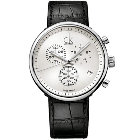 瑞士 Calvin Klein 時尚大錶鏡三眼腕錶 (K2N281C6)