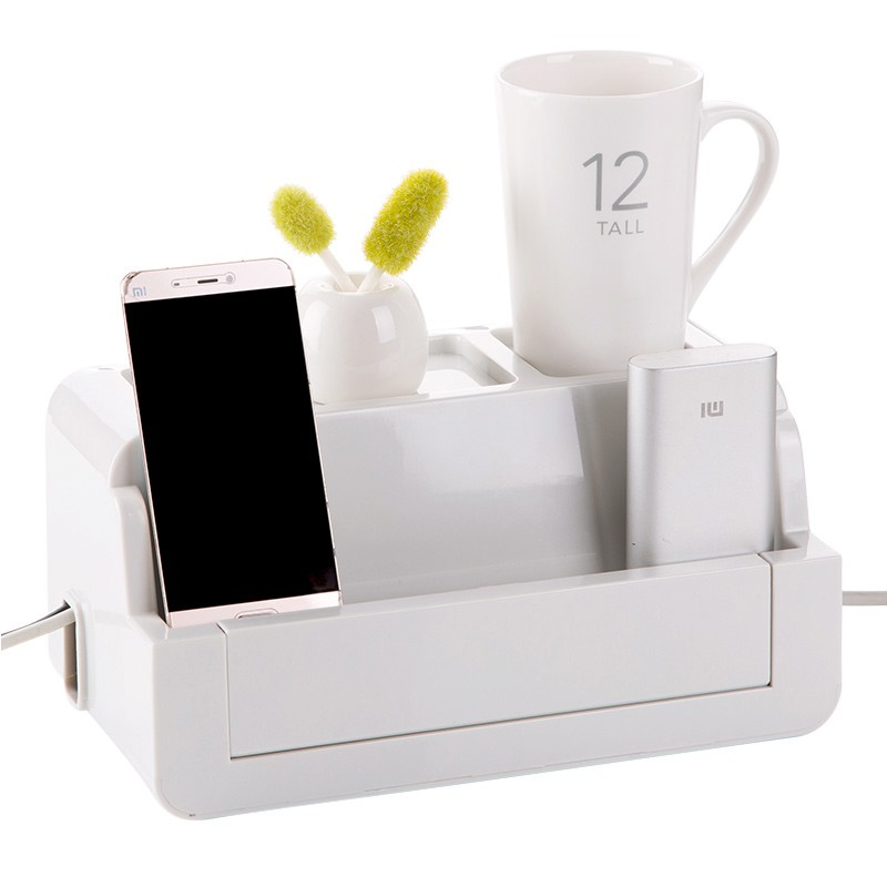 【買十送一】居家家插座電線收納盒電源線整理盒子 桌面插排理線器固定理線盒 桌面電線整理收納盒 客廳插線板電源線理線盒