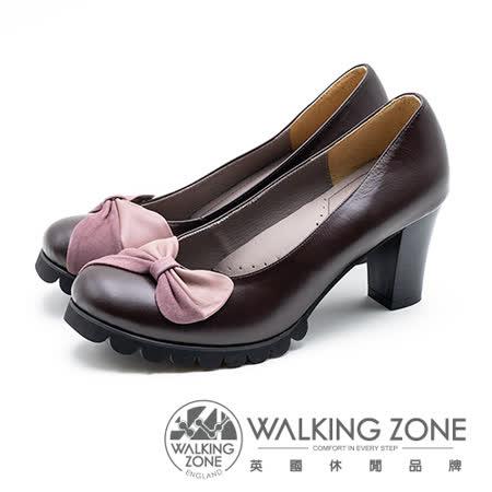 WALKING ZONE 拼接蝴蝶結 粗跟高跟鞋 女鞋 - 棕(另有黑)
