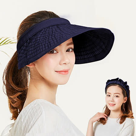 【幸福揚邑】防曬抗UV髮圈大帽檐顯瘦可折疊空頂遮陽帽-藍