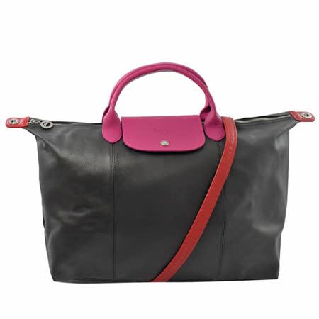 Longchamp Le Pliage Cuir 小羊皮短把兩用包.黑桃 大 #1630