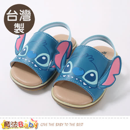 魔法Baby  手工寶寶鞋 台灣製迪士尼史迪奇正版幼兒止滑涼鞋 sk0785