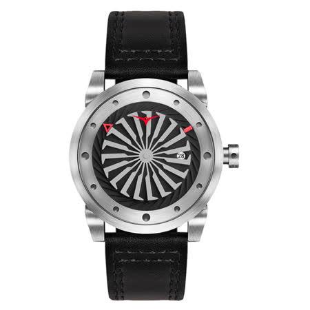 ZINVO 刀鋒戰士渦輪機械腕錶-黑X銀