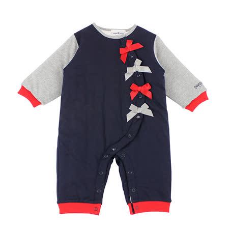 【愛的世界】pappa&ciccia 英格蘭女孩系列蝴蝶結厚衣連褲/6個月~1歲-台灣製-