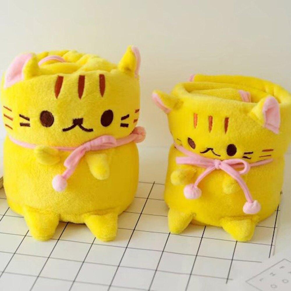 寵物貓咪可捲曲收納毯 小毛毯 懶人毯【BlueCat】【JI1973】