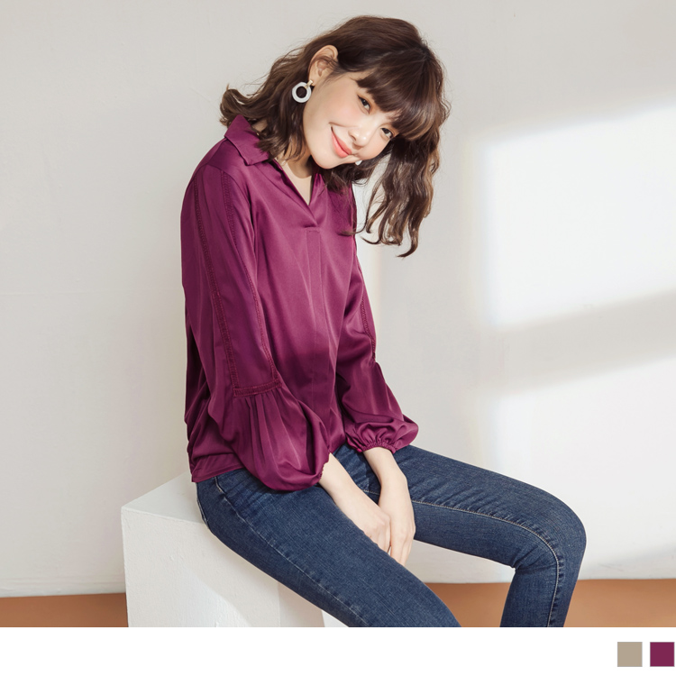 純色不易皺布蕾絲點綴拋袖半開襟襯衫領長袖上衣