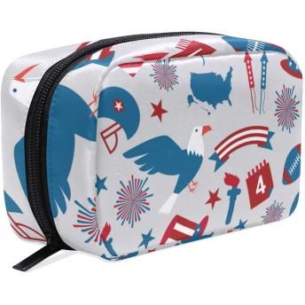 GUKISALA 化粧ポーチ,独立記念日シームレスパターン,大容量コスメケース多機能旅行用高品質収納ケース メイク ブラシ バッグ 化粧バッグ ファッションバッグ