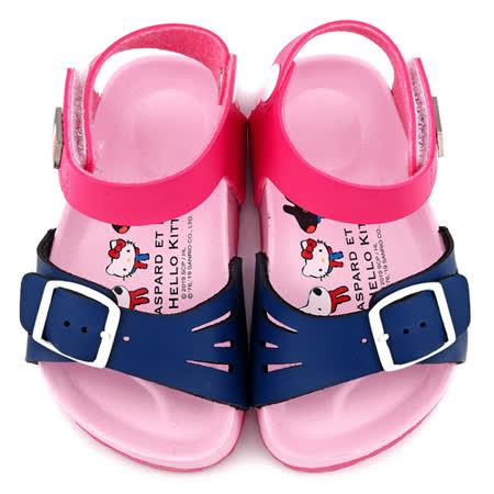 童鞋城堡-麗莎與卡斯伯xKitty 中童 法式風格涼鞋GK4014-桃