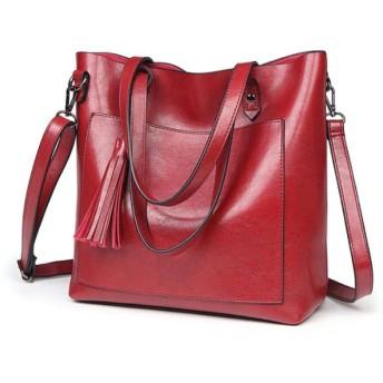 HAOSQ レディースバッグショルダーバッグワイルドメッセンジャーバッグファッションハンドバッグ大容量トートバッグ-赤