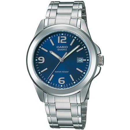 CASIO 品味城市優雅紳士錶-藍(MTP-1215A-2A)