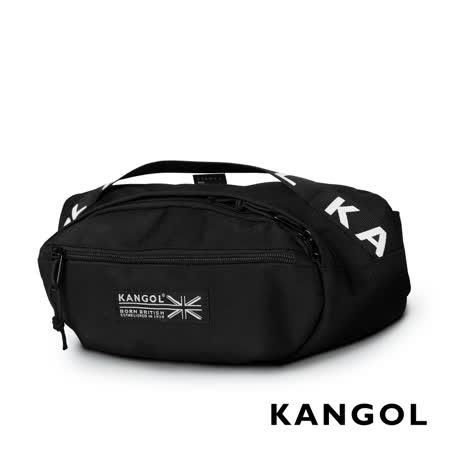 KANGOL LIBERTY系列 韓版潮流LOGO背帶腰包-黑色 KG1191