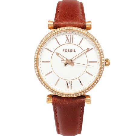 FOSSIL 手錶 ES4428 閃耀晶鑽玫瑰金 咖啡色皮帶女錶
