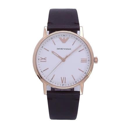 Armani 標準情人時尚優質個性腕錶-玫瑰金-AR11011