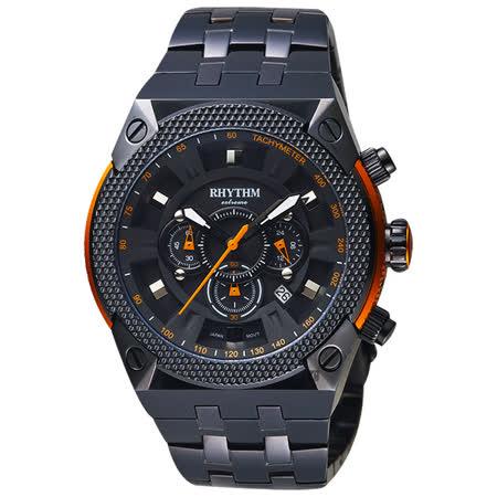 RHYTHM日本麗聲 鐵甲武士計時手錶-黑/46mm I1501S03