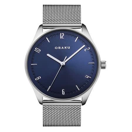 OBAKU秋日時尚氣質腕錶-銀X藍