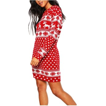 宝の屋 メリークリスマスプリントドレス レディース Oネック エルクスノーフレークミニドレス ワイドニットスウェットロングスリーブ 膝丈パーティードレス パジャマ オーバーサイズカラールームウェア 動きやすい