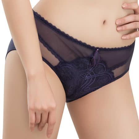 【思薇爾】香緹女伶系列M-3XL蕾絲中腰三角內褲(夜影紫)