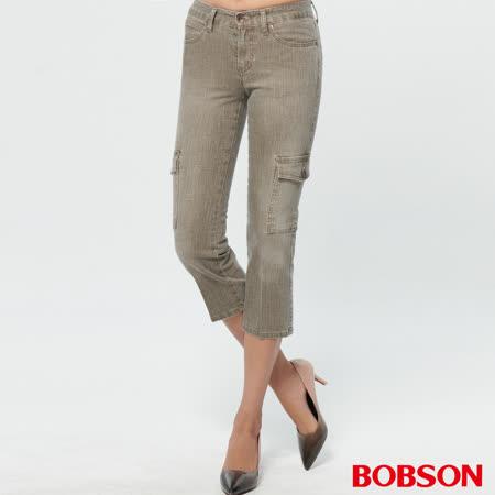 BOBSON 女款超低腰七分伸縮直筒褲(130-72)
