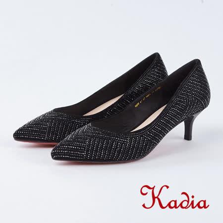 kadia.奢華雙色水鑽閃耀高跟鞋(8536-91黑色)