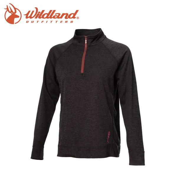 【Wildland 荒野 女 彈性針織麻花時尚上衣《深灰》】0A72651/半領襟/運動衣/休閒衫/吸濕排汗
