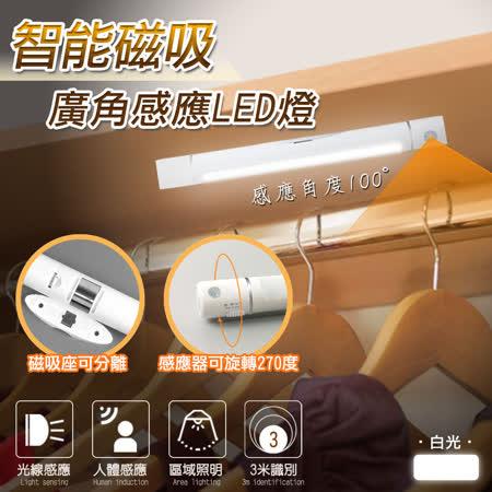 【進階版】智能磁吸廣角居家感應LED燈(可旋轉白光版)