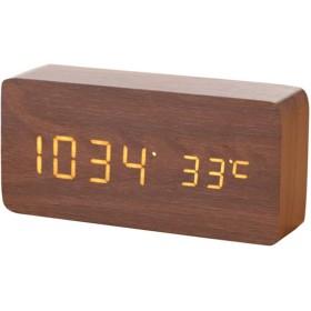 バックライト/音声制御、温度/日付表示、目の保護モード付きの多機能電子デジタル目覚まし時計 (Color : Brown)