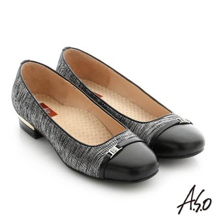 A.S.O 舒適通勤 金箔羊皮水鑽飾釦奈米低跟鞋(黑)