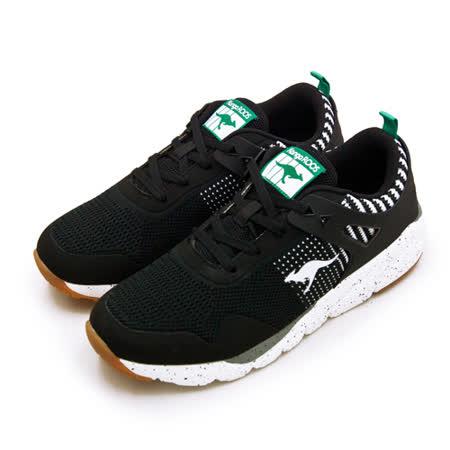 KangaROOS 輕量針織科技慢跑鞋 藍標系列 黑白 91100