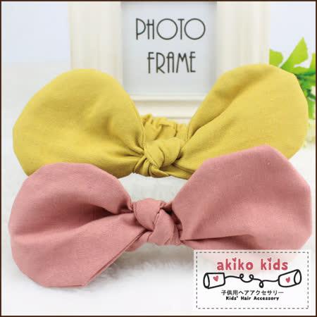 【akiko kids】可愛蝴蝶結造型棉麻布料0.5-2歲寶寶髮帶