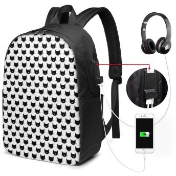 黒猫 リュック バックパックリュックサック USB充電ポート付き イヤホン穴付き 大容量 PCバッグ レジャーバッグ 旅行カバン 登山リュック ビジネスリュック ユニセックス おしゃれ 人気