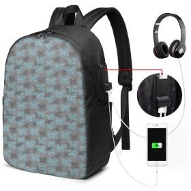 バックパック USB ポート搭載 17インチPC対応 葉のグレースケールの華やかな渦巻き曲線 大容量ビジネスリュック 通勤 通学 出張 旅行 メンズ レディース