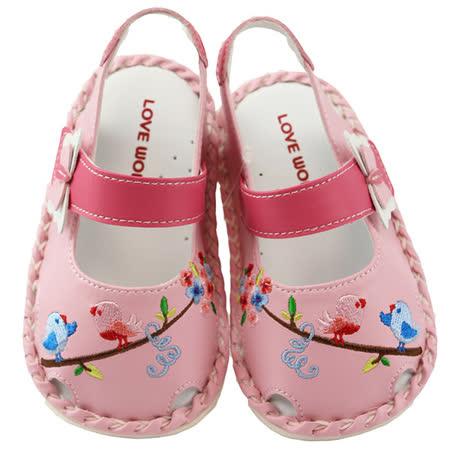 【愛的世界】LOVEWORLD 花與小鳥寶寶鞋/涼鞋/13~15CM-台灣製-