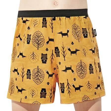 【SOLIS】童話森林系列120-150寬鬆印花四角男童褲(鵝黃色)