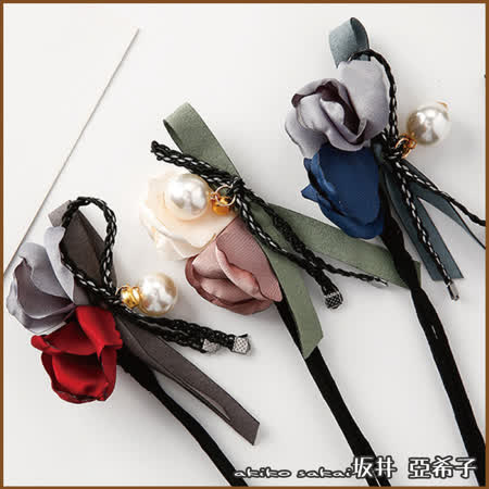 『坂井.亞希子』玫瑰花型珍珠鑲鑽丸子頭盤髮器