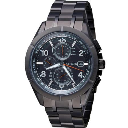 CITIZEN 星辰 時尚電波時計萬年曆鈦金屬腕錶 AT8166-59E