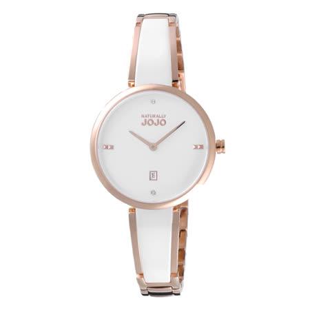 NATURALLY JOJO閃耀夏日時尚腕錶-玫瑰金X白