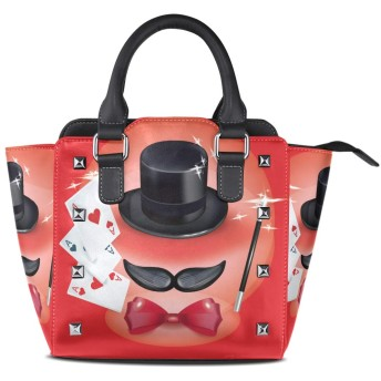 マジックレッドプレイカード女性の女の子のためのハンドバッグ女性クロスボディバッグ革サッチェル財布メイクトートバッグ
