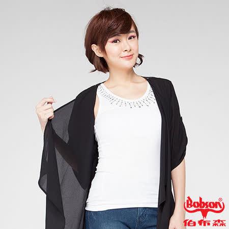 BOBSON 女款雪紡紗蕾絲罩衫(黑24098-88)