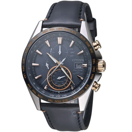 CITIZEN 星辰 GENTS 光動能 鈦金屬電波計時腕錶-黑x玫瑰金/42mm AT8158-14H