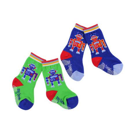 【愛的世界】LOVEWORLD 機器人止滑透氣毛巾底半統襪-2入(綠+藍色)-台灣製-