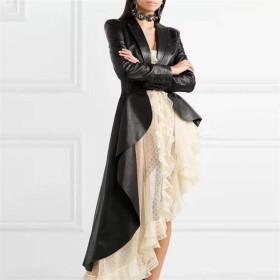 LittleCat 女性の黒のPUレザージャケット、ファッションの個性は細い腰不規則な革のジャケットでした (色 : ブラック, Size : S)