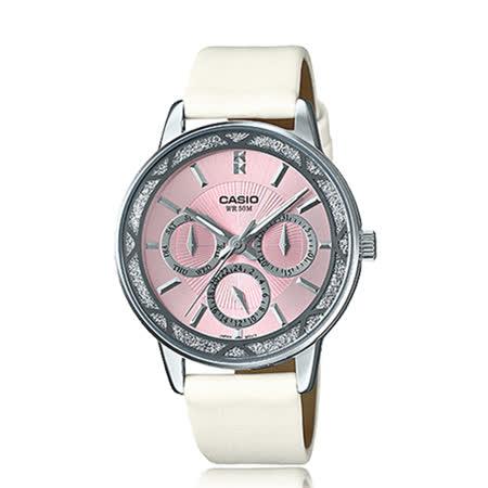 CASIO 氣質皮錶帶指針三眼淑女錶 LTP-2087SL-4A
