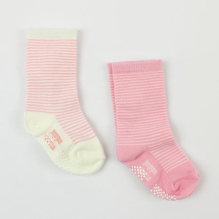 【愛的世界】pappa&ciccia 止滑透氣條紋及膝襪-2入(米白+粉紅色)-台灣製-