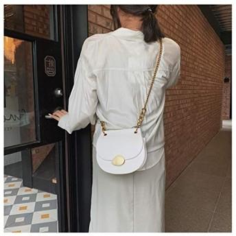 ハンドバッグメッセンジャーバッグ 磁気バックルPUレザーチェーンシングルショルダーバッグレディースハンドバッグメッセンジャーバッグ(ブラック) (色 : 白)