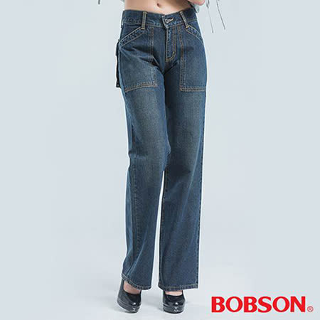 BOBSON 前貼口袋刷白牛仔褲-924-53