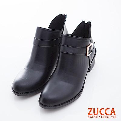 ZUCCA-金屬V剪裁拉鍊低跟靴-黑-z6718bk